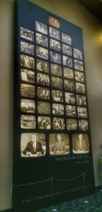 A wall of Walter Cronkite's most famous broadcasts is displayed at the Walter Cronkite Memorial at Missouri Western University in St. Joseph, Missouri.