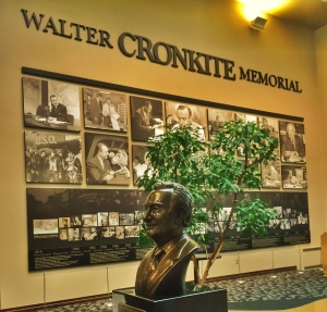 The bust of Walter Cronkite greets visitors to the Walter Cronkite Memorial at Missouri Western University in St. Joseph, Missouri.