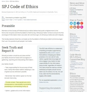 Screenshot of the SPJ Code of Ethics on the organization's website.