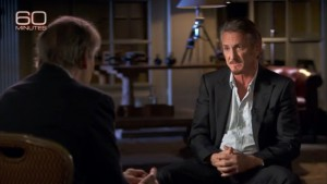 In this screen grab from CBS, Sean Penn sits with Charlie Rose of 60 Minutes.
