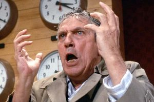 Screenshot of Peter Finch portraying Howard Beale in the 1976 film Network.