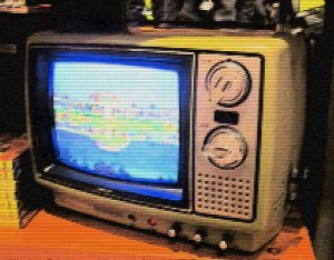 Photo illustration of an antique television set.