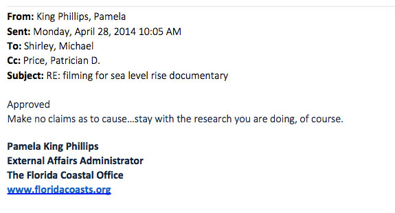 April 2014 email exchange between Florida DEP employees Michael Shirley, a regional administrator, and  Pamela King Phillips, the coastal office's external affairs administrator. Story by Tristram Korten and fcir.org.
