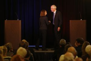 ORIG / 09-24-16 / Joe Kline / The Bulletin  Oregon Governor Kate Brown, left, and Republican challenger Bud Pierce shake hands at the end of the first governor debate at the Riverhouse in Bend on Saturday, September 24, 2016.