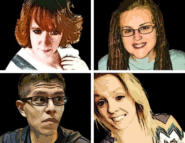 Clockwise from top: Mary Mason, Alexis Huscko, Tarsa Weikert, Omar Ocampo