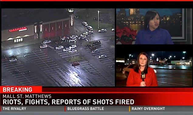 TV news report on Mall St. Matthews in Louisville, Kentucky