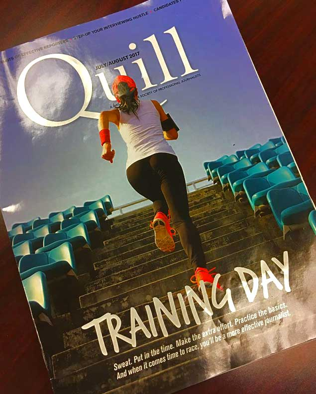 Quill magazine cover with image of women jogging, shot from behind