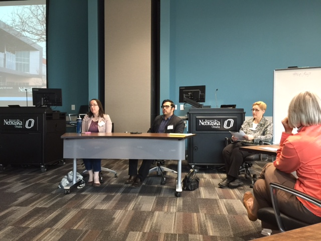 Marjorie Sturgeon and Jonathan Garcia served on a panel, moderated by Sherrie Wilson, about digital in the newsroom.